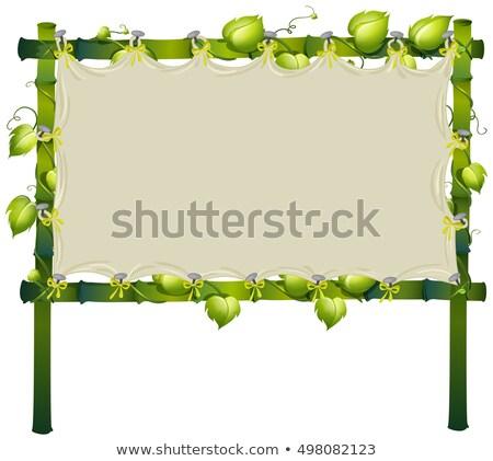 Bambu assinar videira em torno de quadro ilustração Foto stock © colematt