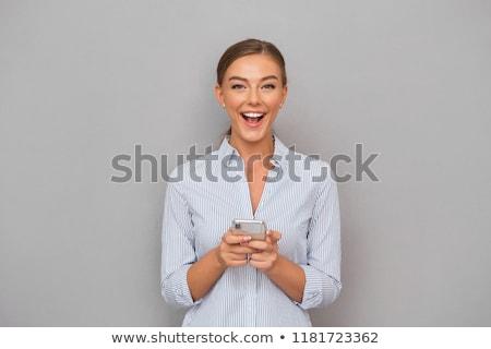 schöne · Frau · stehen · mobile · schönen - stock foto © deandrobot