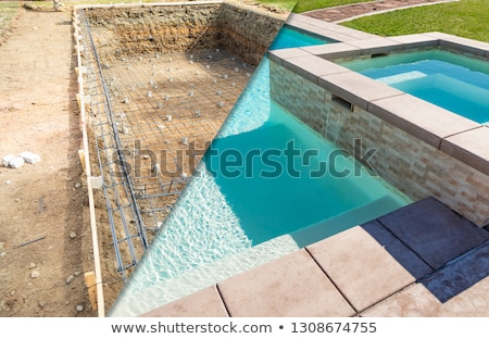 Before and After Pool Build Construction Site Stock photo © feverpitch