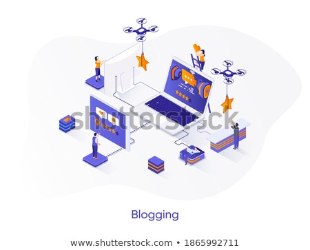 blogging online   modern colorful isometric vector web banner stock photo © decorwithme