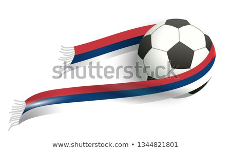 Tricolor serbia flag and soccer ball flying Stock photo © orensila