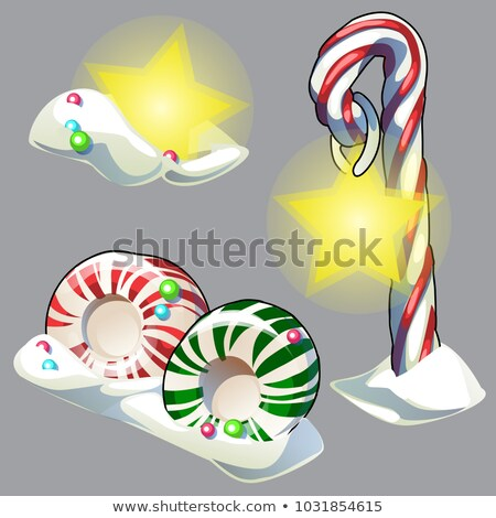 Set of Christmas sweets isolated on grey background. Vector cartoon close-up illustration. Stock photo © Lady-Luck