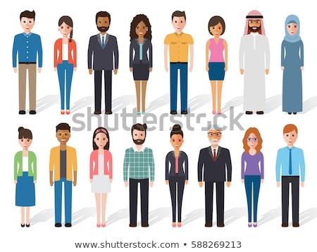 Arab üzletasszony fehér hidzsáb rajz vektor Stock fotó © NikoDzhi