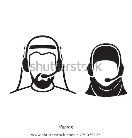 Arabes homme centre d'appel opérateur casque icône Photo stock © NikoDzhi