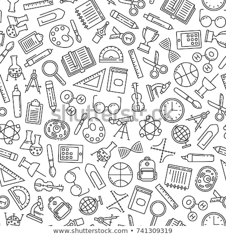 Stock photo: Science education outline icon seamless pattern