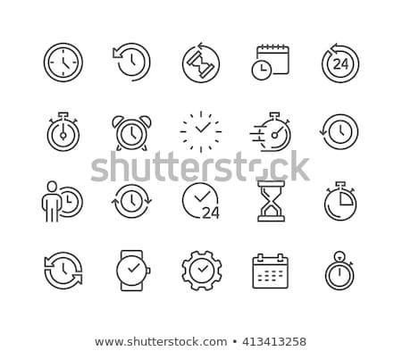 muur · klok · lijn · icon · hoeken · web - stockfoto © smoki