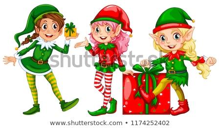 cute · retro · christmas · vrouw · decoratie · geïsoleerd - stockfoto © colematt