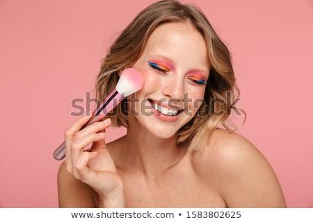 肖像 笑みを浮かべて 小さな トップレス 女性 ストックフォト © deandrobot