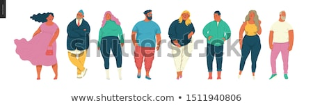 vector set of fat people stock fotó © olllikeballoon