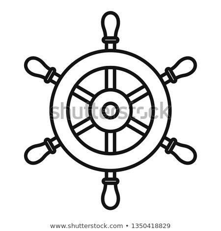 vector black, white boat handwheel, ship wheel helm stock photo © VetraKori