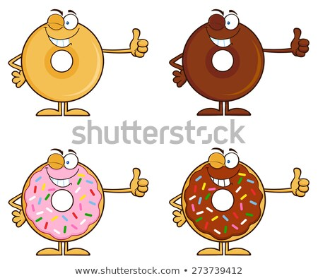Happy Chocolate Donut Cartoon Character With Sprinkles Stock photo © hittoon