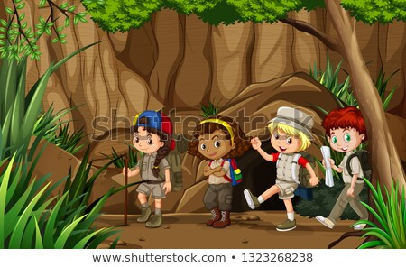 Multiculturele kinderen grot illustratie ontwerp achtergrond Stockfoto © bluering