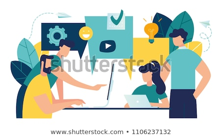 diálogo · empresários · dois · discutir · reunião · casal - foto stock © makyzz