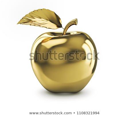 Foto stock: Dourado · maçã · 3D · imagem · branco · fruto