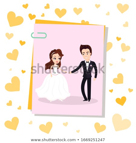 Fotoğraf kart kırpmak mutlu yeni evli çift Stok fotoğraf © robuart