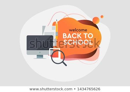 Vissza az iskolába vásár dinamikus stílus szalag terv Stock fotó © ikopylov