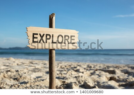 Explore Pole On Sandy Beach Stock photo © AndreyPopov