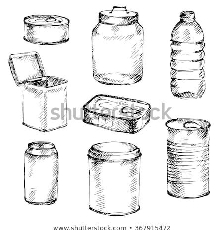 hand drawn glass bottle with blank label vector stock photo © pikepicture