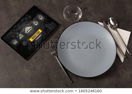 ストックフォト: Online Food Order Concept On Laid Table