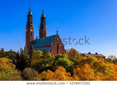 Kerk Stockholm Rood baksteen jaar romantische Stockfoto © borisb17