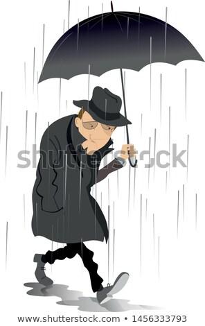 Rainy day and the man in low spirits illustration  Stock photo © tiKkraf69