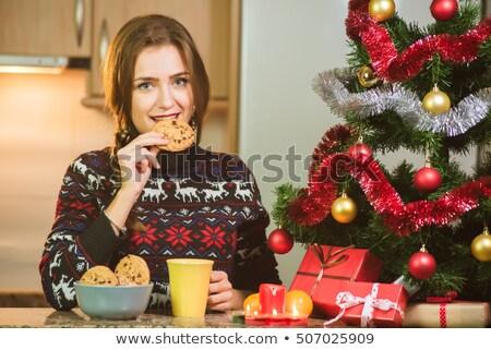 beker · thee · cookie · christmas · lichten · koffie - stockfoto © dolgachov