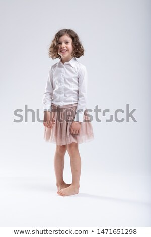 Cute little barefoot girl standing pigeon toed Stock photo © Giulio_Fornasar