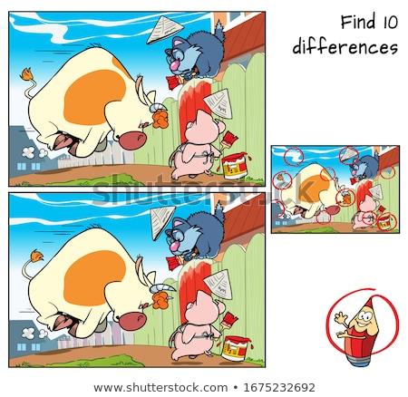 Differenze gioco suini animali della fattoria cartoon illustrazione Foto d'archivio © izakowski