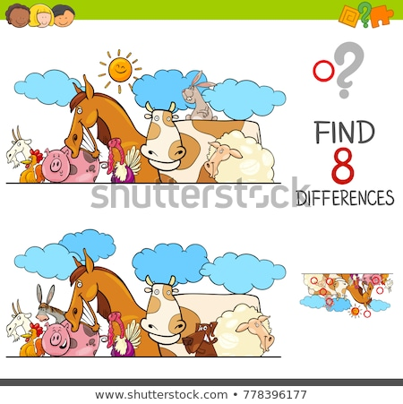 differences game with donkeys animal characters stock photo © izakowski