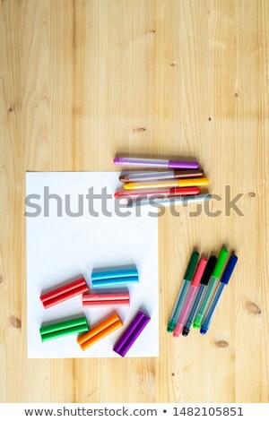 карандашей · деревянный · стол · изображение · древесины · образование - Сток-фото © pressmaster