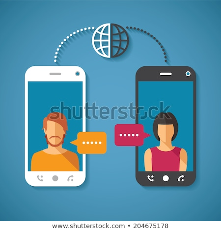Praten telefoon netwerken persoon gelukkig conferentie Stockfoto © ra2studio