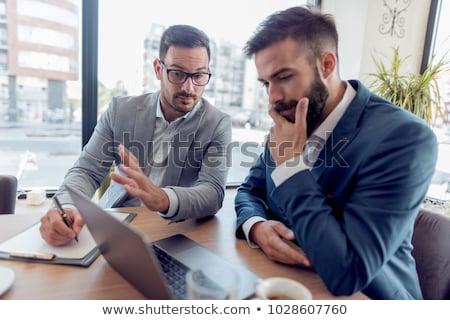 Twee business collega's vergadering bespreken Stockfoto © Freedomz