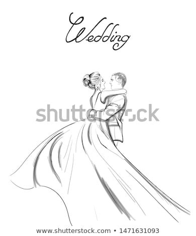 Wedding couple Vector line art. Lovely couple hugs. Bride and groom silhouette vintage style. Beauti Stock photo © frimufilms