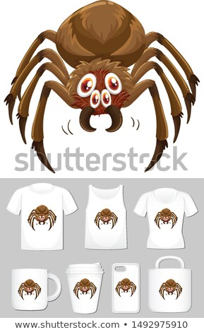 Graphic of spider on different types of product template Stock photo © bluering