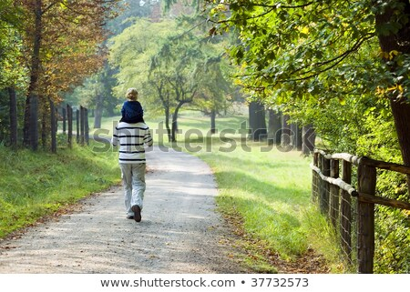 father and son are walking along the forest road stock photo © galitskaya