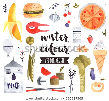 set of vector watercolor leaves and mushrooms stock photo © artspace