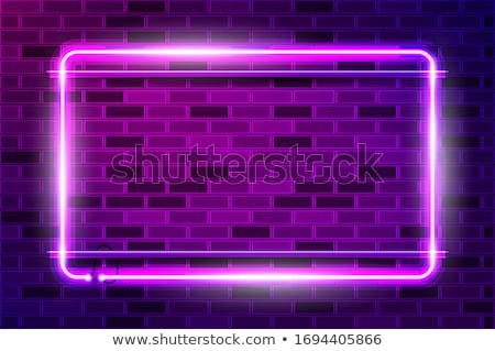 realistic billboard on dark brick background wall led lights frame vector stock photo © andrei_