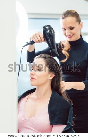Friseur Schlag Haar Client schwarz Rollkragen Stock foto © Kzenon