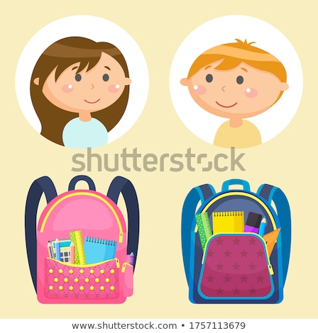 Materiały biurowe książek dziewcząt chłopców naklejki Zdjęcia stock © robuart