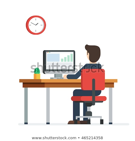 Employee Working with Laptop, Man with Pc Vector Stock photo © robuart