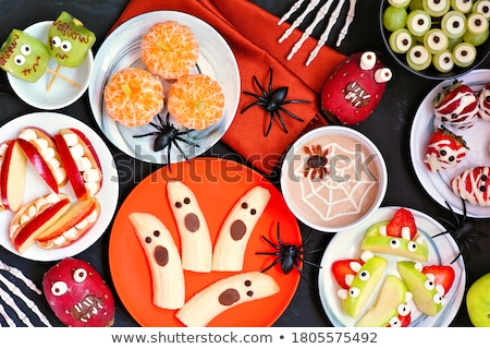 Halloween tablo kabak iskelet arka plan turuncu Stok fotoğraf © furmanphoto
