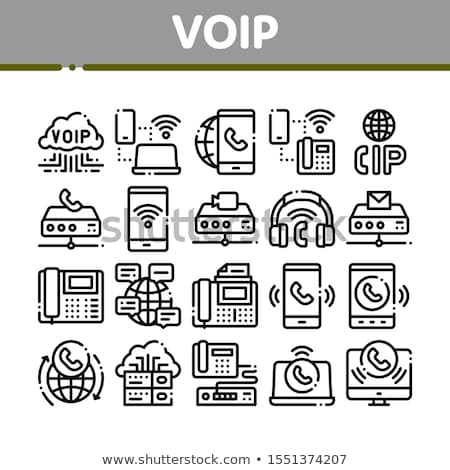 voip calling system collection icons set vector stock photo © pikepicture
