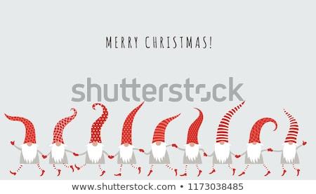 Christmas card with gnomes Stock photo © balasoiu