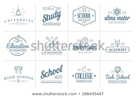 Academy Emblem Logo Icon Vector Outline Illustration Stock photo © pikepicture