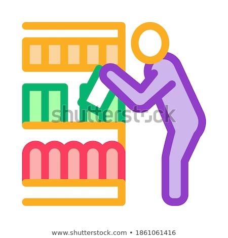Man kiezen producten icon vector schets Stockfoto © pikepicture