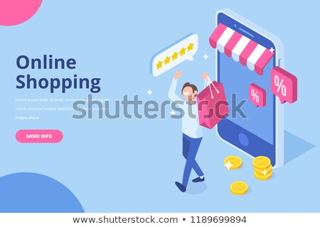 Nagy vásár szalag boldog vásárlók ajándékok Stock fotó © robuart