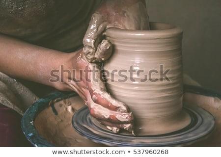 Közelkép barna cserépedények agyag nő kezek Stock fotó © galitskaya