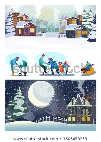 Winter City, House in Winter and People with Pram Stock photo © robuart