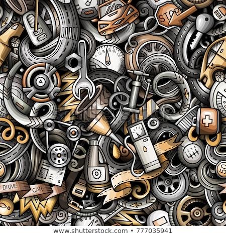 Cartoon cute doodles Automotive seamless pattern Stock photo © balabolka