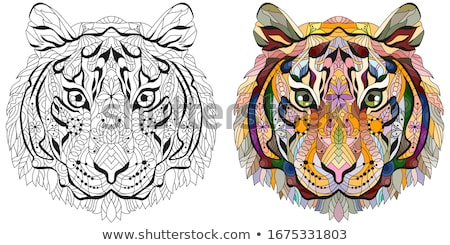 Zentangle tiger head. Hand drawn decorative vector illustration for coloring Stock photo © Natalia_1947